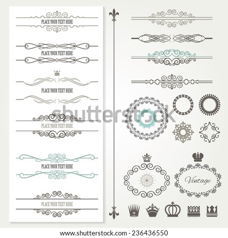 Vintage frames, dividers, crowns and page decoration set. Calligraphic design elements. - stock vector