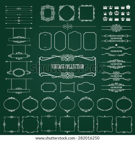 Vintage frames, dividers, signboards mega set on chalkboard background. Calligraphic design elements. - stock vector