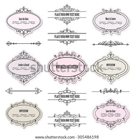 Vintage frames, labels and dividers set. Calligraphic design elements. - stock vector