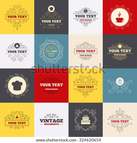 Vintage frames, labels. Coffee cup icon. Chef hat symbol. Birthday cake signs. Document file. Scroll elements. Vector - stock vector