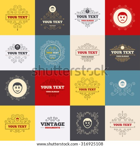 Vintage frames, labels. Human smile face icons. Happy, sad, cry signs. Happy smiley chat symbol. Sadness depression and crying signs. Scroll elements. Vector - stock vector