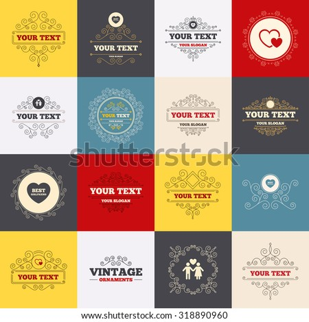 Vintage frames, labels. Valentine day love icons. Best girlfriend and boyfriend symbol. Couple lovers sign. Scroll elements. Vector - stock vector