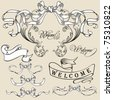 Vintage frames, lines collection - elements with original antique style - stock vector