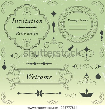 Vintage frames, ornaments and dividers, calligraphic design elements and page decoration, elegant retro style set, black isolated on green background, vector illustration. - stock vector