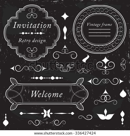 Vintage frames, ornaments and dividers, calligraphic design elements and page decoration, elegant retro style set, white isolated on black background, vector illustration. - stock vector