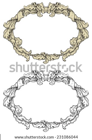 Vintage frames	. Vector retro  ornate borders at engraving style.  - stock vector