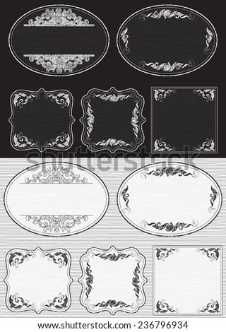 Vintage frames. Vector set of retro  backgrounds with ornate border at engraving style.   - stock vector