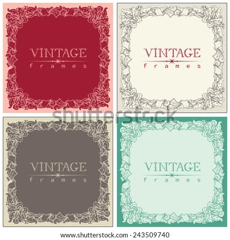 Vintage frames. Vector set of retro  ornate borders at old engraving style.   - stock vector