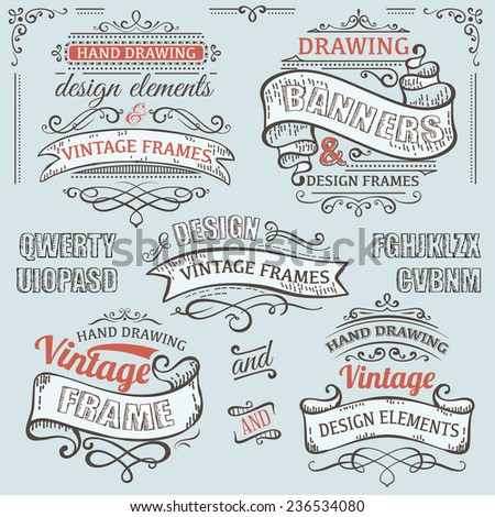vintage frames with design elements - stock vector