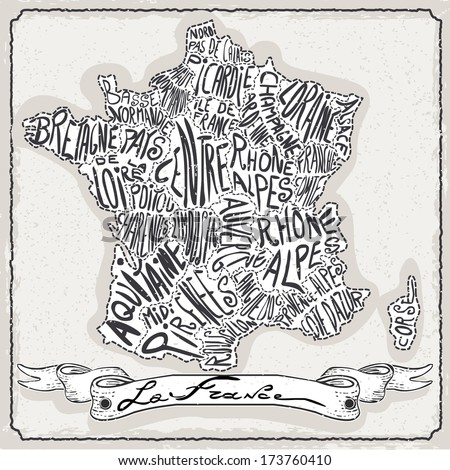 Vintage France Map Blackboard. Geographic French Chalk Board Map. Retro Vintage French typography. Chalk Handwriting France Map.Vintage Board Background Infographic Vector Image - stock vector