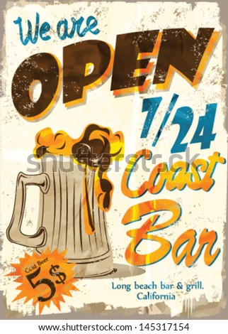 Vintage Free Beer Tomorrow Metal Sign - Vector . Grunge effects can be easily removed. - stock vector