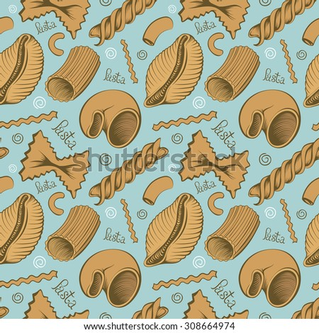 Vintage Freehand Blue Background with Pasta, stylized Homeliness Pattern - stock vector