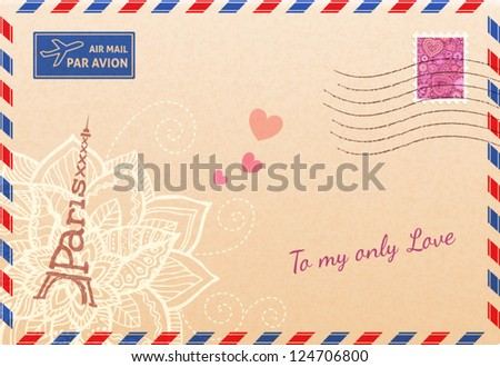 Vintage french envelope with Eiffel tour, flowers and hearts - stock vector