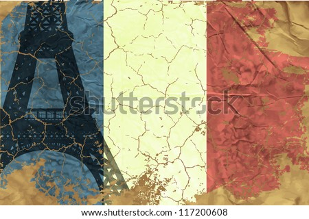 Vintage French flag - stock vector