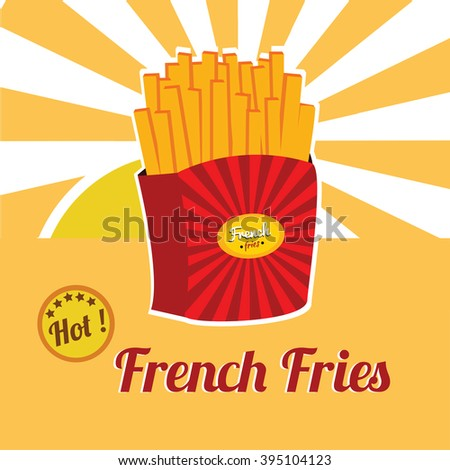 Vintage French Fries Poster Illustration Isolated Flat Vector Graphic Design