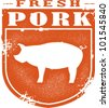 Vintage Fresh Pork Meat Stamp - stock vector