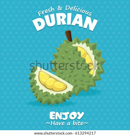 Vintage fruit poster design with Durian