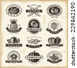 Vintage fruits and vegetables labels set. Fully editable EPS10 vector. - stock vector