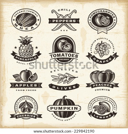 Vintage fruits and vegetables labels set. Fully editable EPS10 vector.