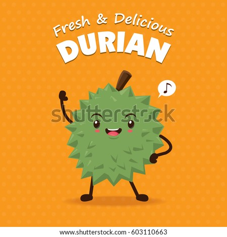 Vintage fruits poster design with vector durian character.