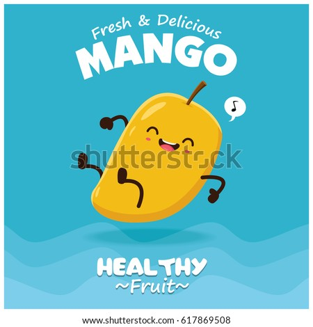 Vintage fruits poster design with vector Mango character.