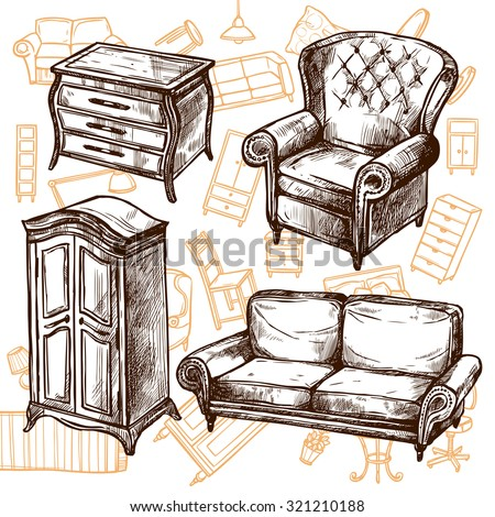Vintage furniture chair sofa cabinet and dresser doodle sketch hand drawn concept vector illustration - stock vector