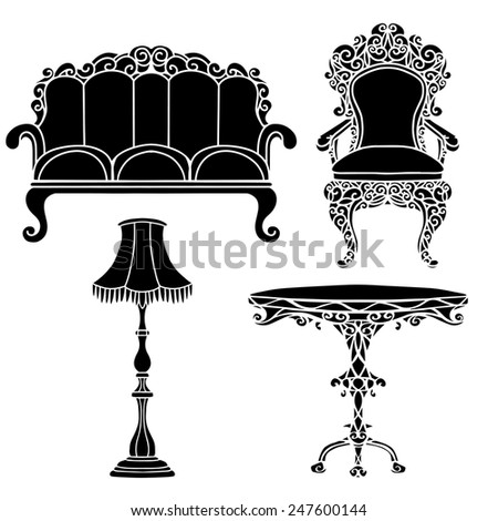 Vintage furniture set, armchair, sofa, table, floor lamp black silhouettes  isolated on a white background - stock vector
