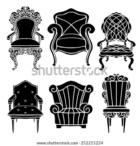 Vintage furniture set, chair, armchair, throne black silhouettes isolated on a white background - stock vector
