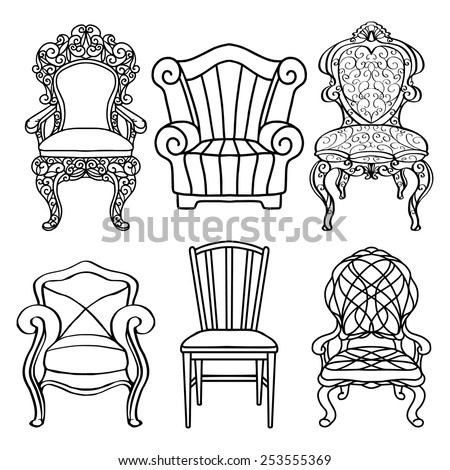 Vintage Furniture Set Chair Armchair Throne Closeup Black Lines Isolated On