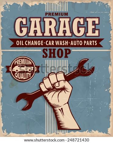 Vintage Garage poster design - stock vector