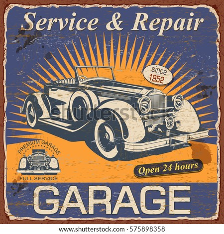 Vintage Garage Poster With Retro Car