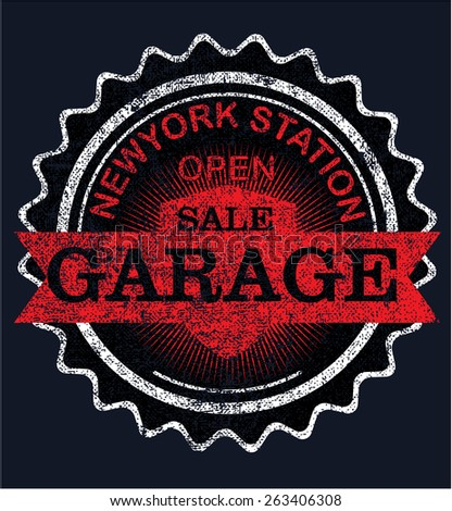 Vintage garage retro signs and labels - stock vector