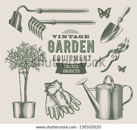 Vintage garden objects - stock vector