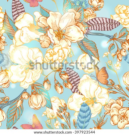 Vintage garden spring seamless pattern. Flowers blooming branches of cherry, flowers apple trees, peach, feathers and butterflies, Vector botanical pattern.