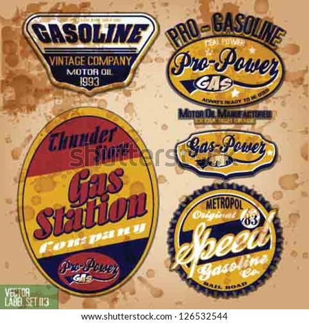 vintage gas and oil company vector set.vintage grunge gasoline vector elements. - stock vector