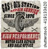 Vintage gas and oil station retro sign. - stock vector