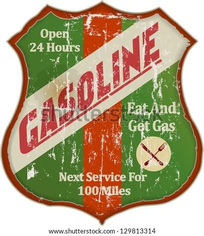 Vintage gas station and diner sign, vector illustration - stock vector