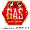 vintage gas station sign, grungy vector illustration - stock vector