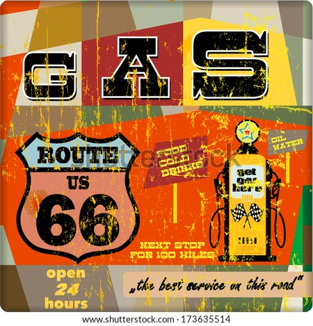 vintage gas station sign on the route 66, vector eps 10  - stock vector