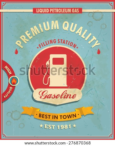 Vintage gasoline poster design - stock vector