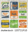 Vintage gasoline retro signs and labels. - stock vector