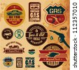Vintage gasoline retro signs and labels. Gas station. - stock photo