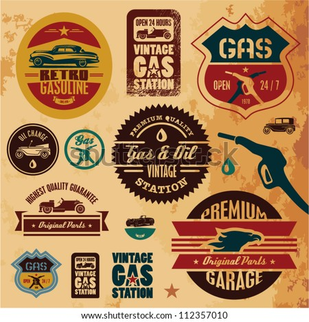 Vintage gasoline retro signs and labels. Gas station. - stock vector