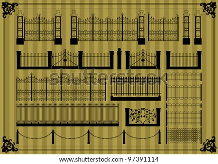 Vintage gate and street fence illustration collection background vector - stock vector