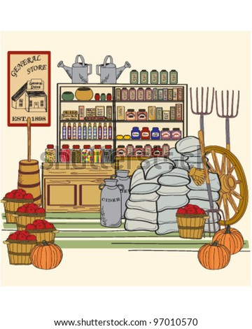 Vintage General Store             vector eps10 - stock vector