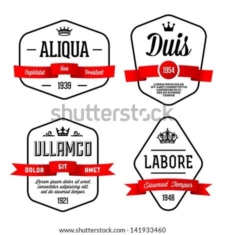 vintage geometric label with ribbon - stock vector