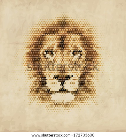 Vintage Geometric Lion Design - stock vector