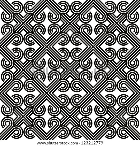 Vintage geometric seamless pattern, black and white vector background.