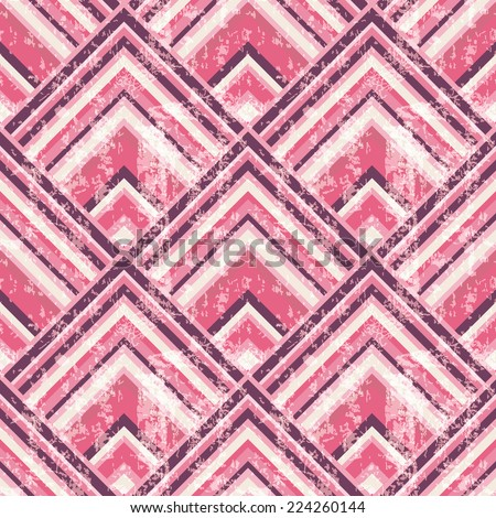 Vintage geometric seamless pattern with grunge effect.  - stock vector