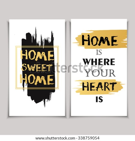 """Vintage gift card with quote """"Home is where your heart is"""". - stock vector"""
